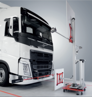 Volvo Group truck cameras and radar static calibration stand